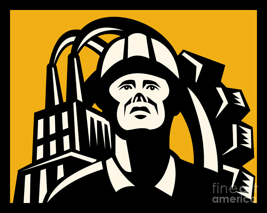 Worker Factory Building Digital Art  - Worker Factory Building Fine Art Print