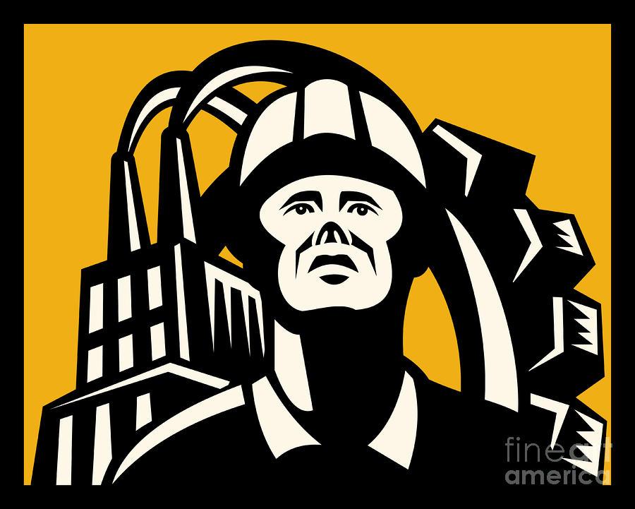 Worker Factory Building Digital Art