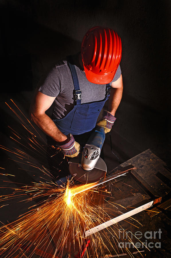 Worker With Grinder Photograph  - Worker With Grinder Fine Art Print