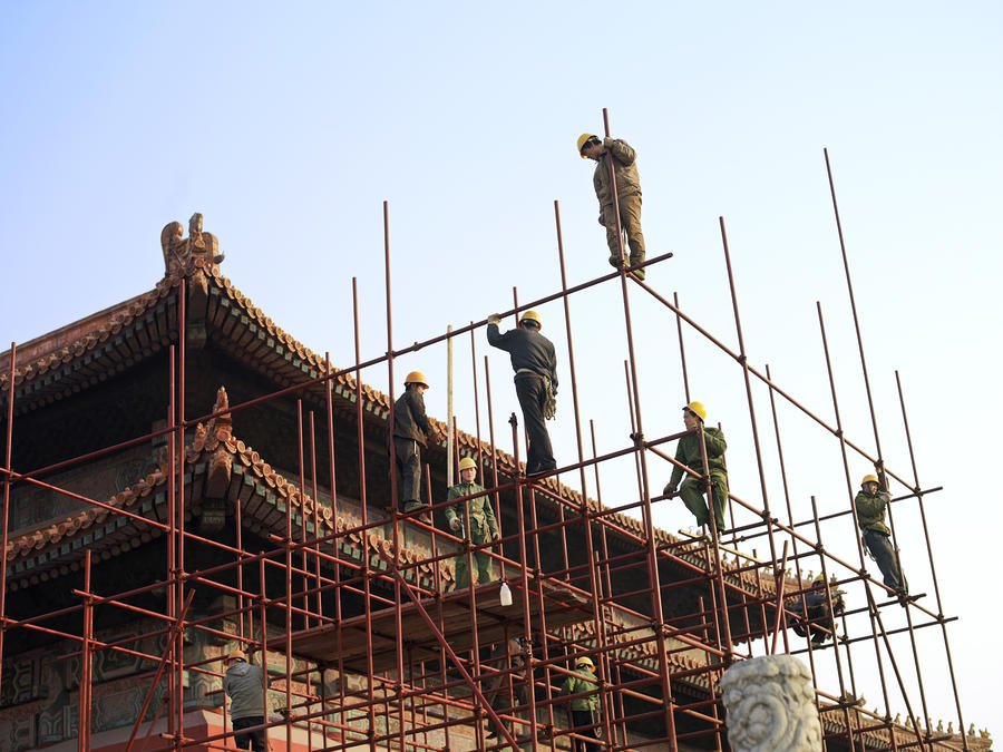 Workers Climb Scaffolding On The Palace Photograph  - Workers Climb Scaffolding On The Palace Fine Art Print