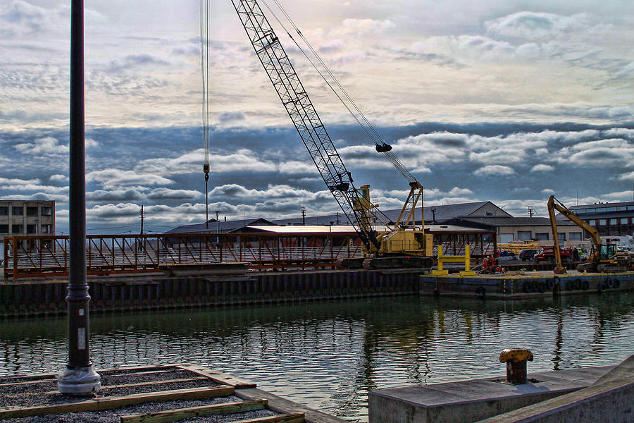 Construction Site Photograph - Working With Clouds by Peter Chilelli