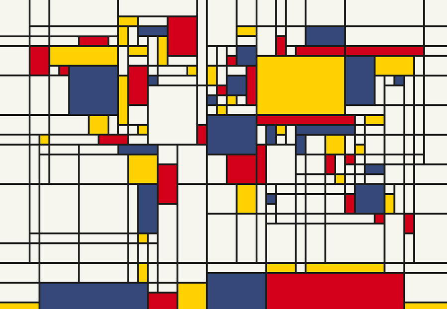 World Map Abstract Mondrian Style Digital Art  - World Map Abstract Mondrian Style Fine Art Print