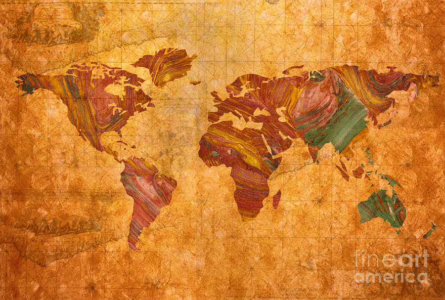 World Map Abstract Painted Painting  - World Map Abstract Painted Fine Art Print