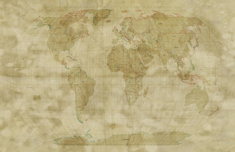 World Map Antique Style Digital Art  - World Map Antique Style Fine Art Print