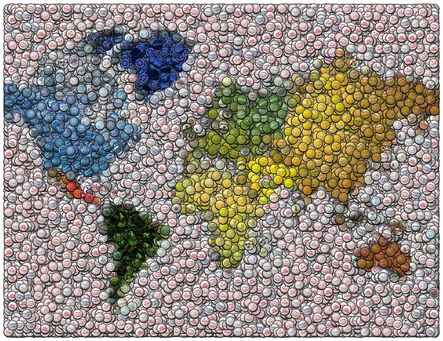 World Map Bottle Cap Mosaic Digital Art