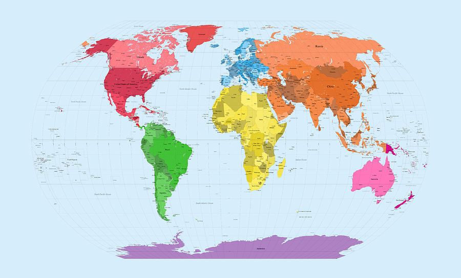 World Map Continents Digital Art  - World Map Continents Fine Art Print