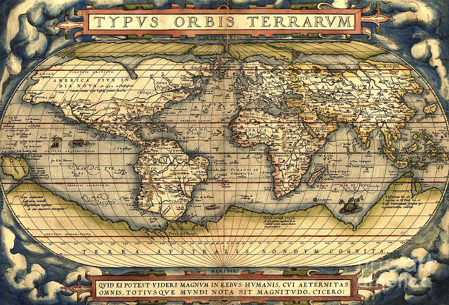World Map From The Theatrum Orbis Terrarum 1570 Painting  - World Map From The Theatrum Orbis Terrarum 1570 Fine Art Print