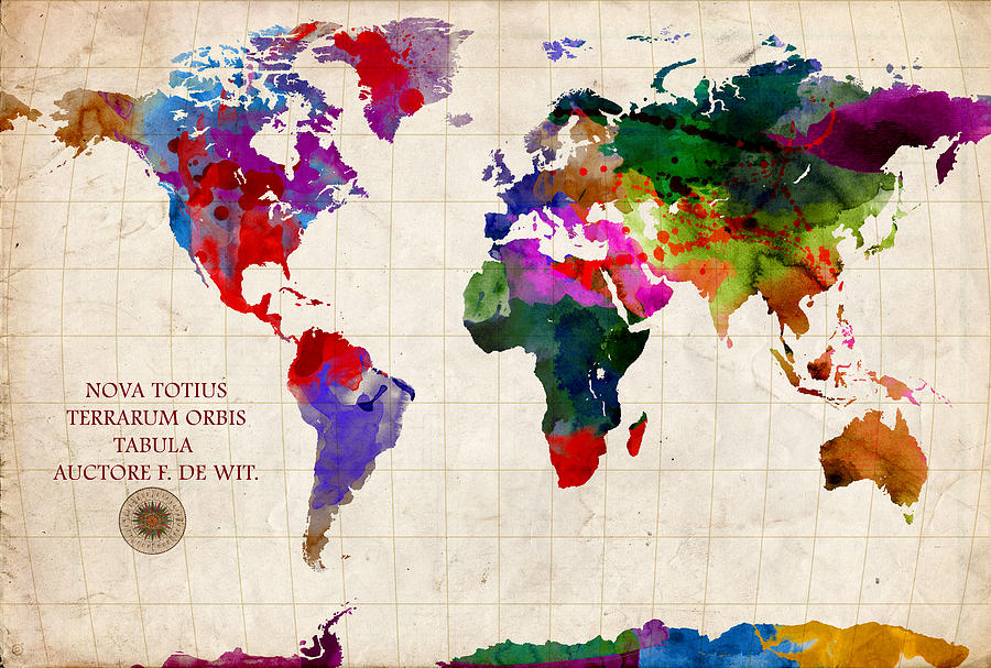World Map Digital Art  - World Map Fine Art Print