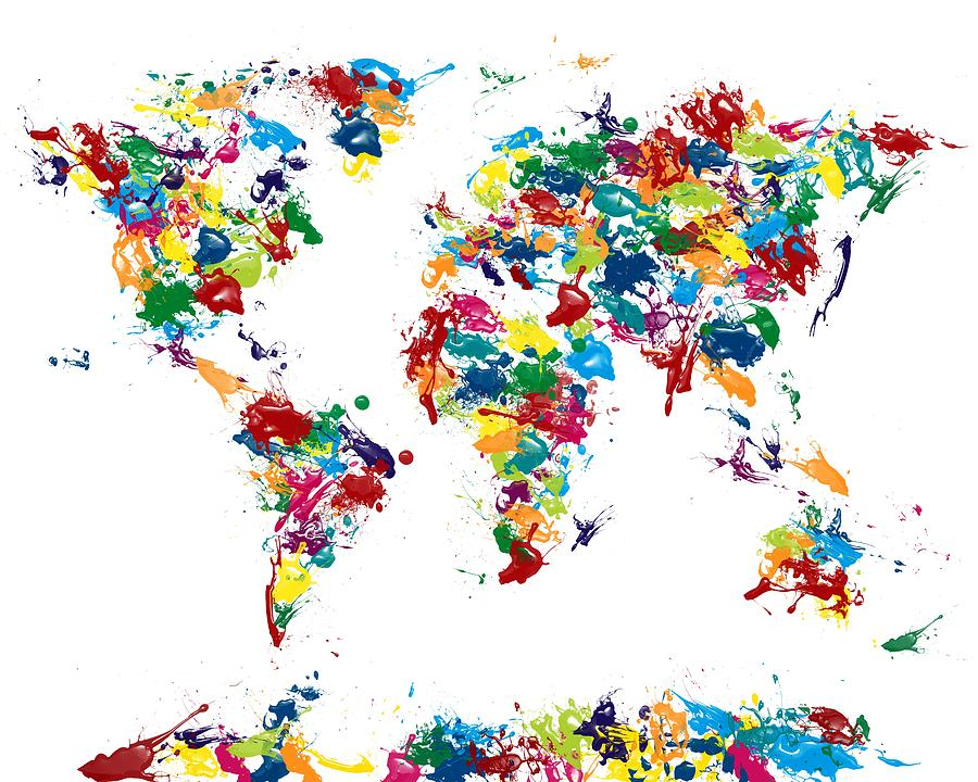World Map Glossy Paint 16 X 20 Digital Art  - World Map Glossy Paint 16 X 20 Fine Art Print