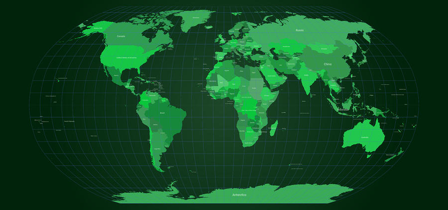 World Map In Green Digital Art  - World Map In Green Fine Art Print