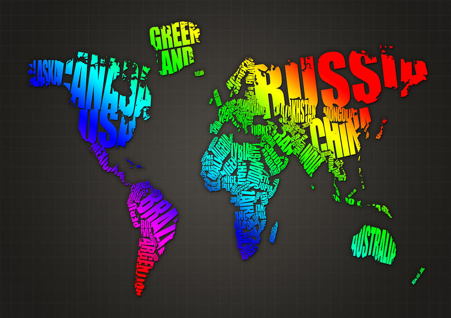 World Map In Words Digital Art  - World Map In Words Fine Art Print