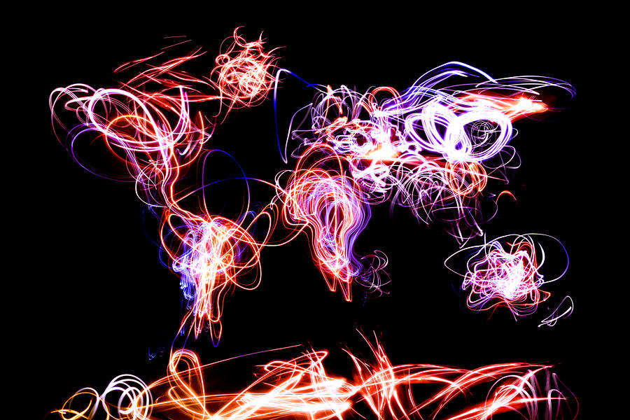 World Map Light Writing Digital Art