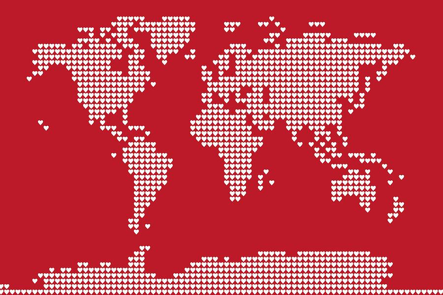 World Map Love Hearts Digital Art