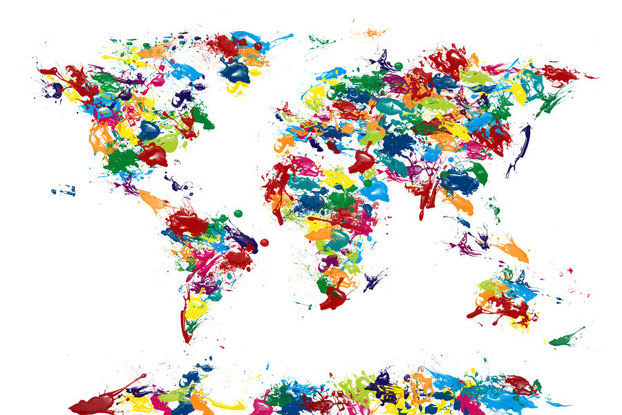 World Map Paint Drops Digital Art