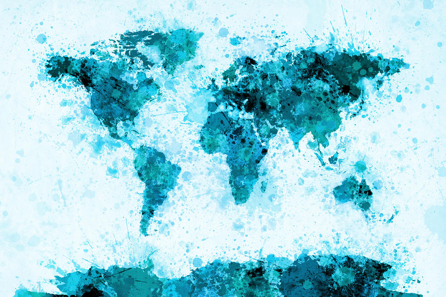 World Map Paint Splashes Blue Digital Art