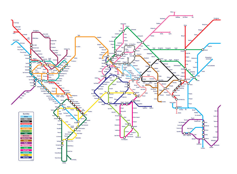 World Metro Map Digital Art  - World Metro Map Fine Art Print