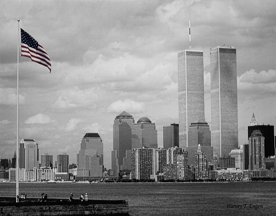 World Trade Towers With Flag In Color Photograph