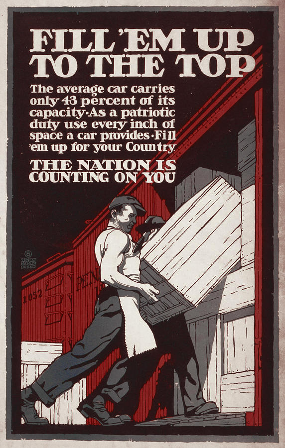 World War I, Poster Showing Men Loading Photograph