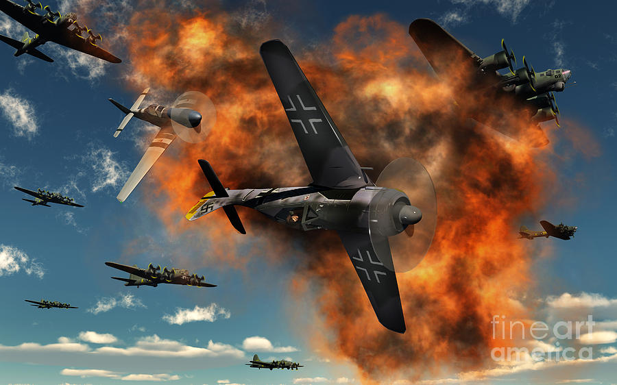 World War II Aerial Combat Digital Art  - World War II Aerial Combat Fine Art Print