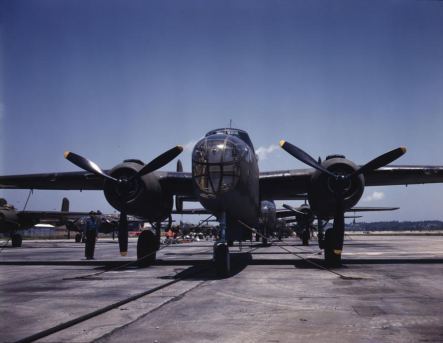 World War II, B-25 Bomber Planes Photograph