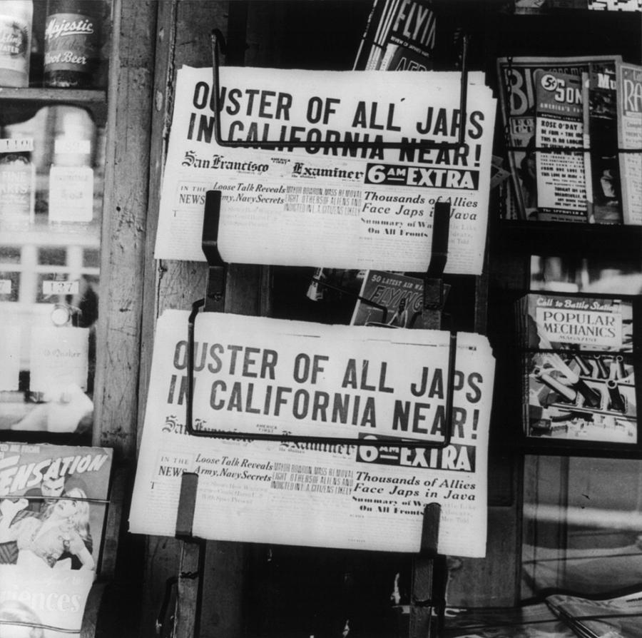 World War II, News Headlines Announcing Photograph