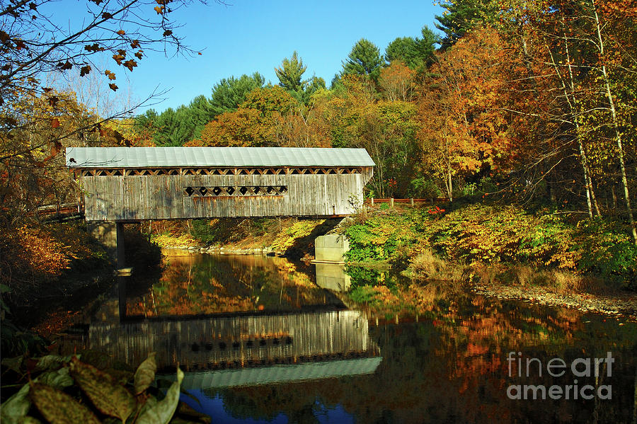 Worralls Bridge Vermont - New England Fall Landscape Covered Bridge Photograph  - Worralls Bridge Vermont - New England Fall Landscape Covered Bridge Fine Art Print