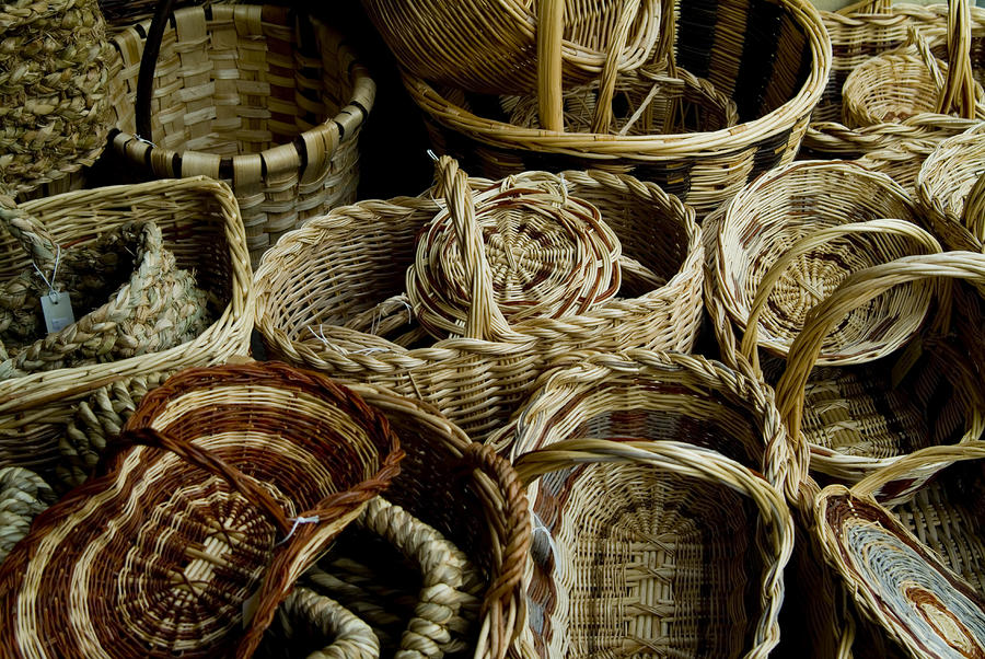 Art Baskets For Sale : Woven baskets for sale at a market by todd gipstein