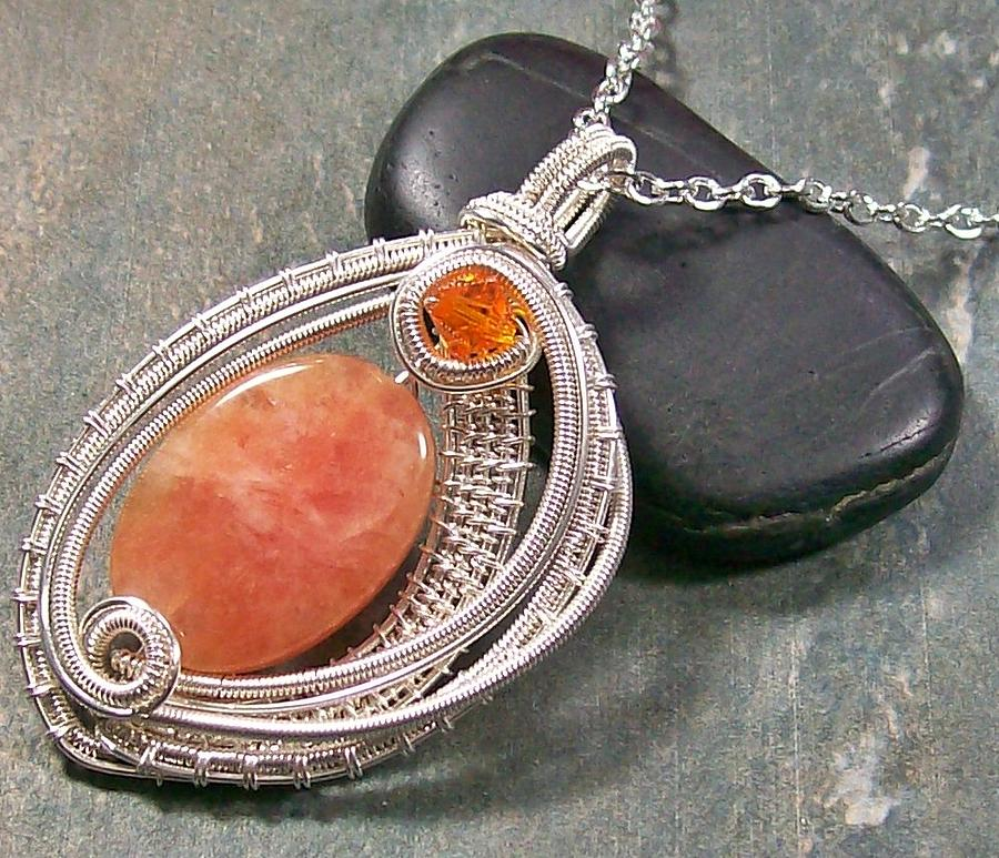 Woven Oval Orange Calcite And Silver Pendant Jewelry