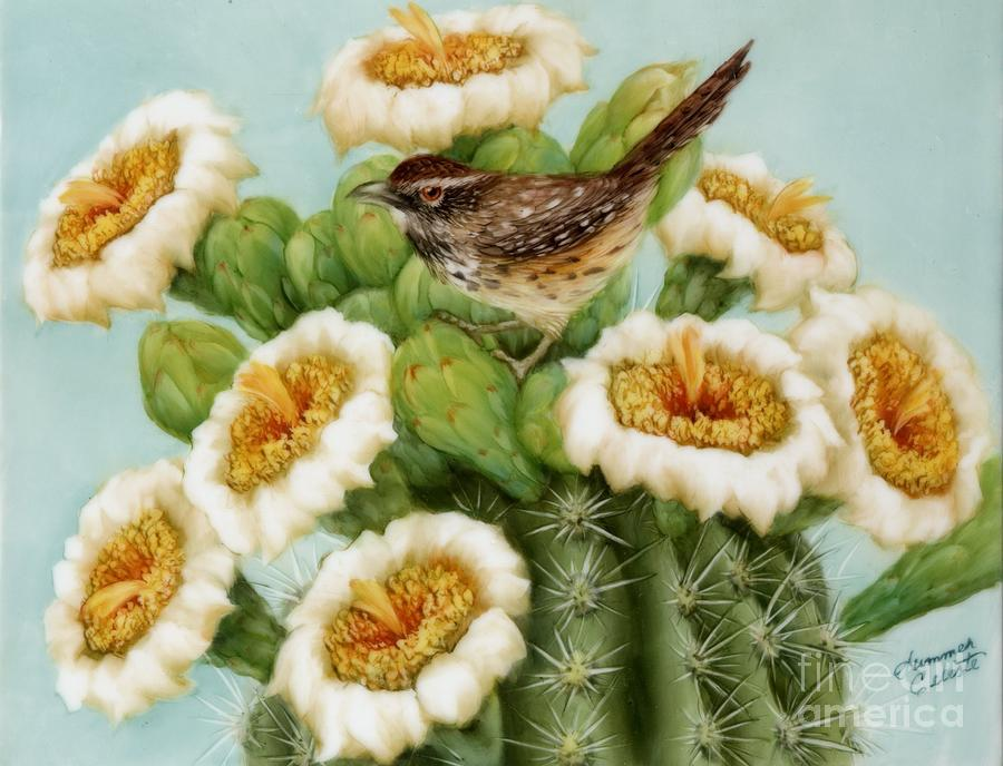 Wren And Saguaro Blossoms  Painting  - Wren And Saguaro Blossoms  Fine Art Print