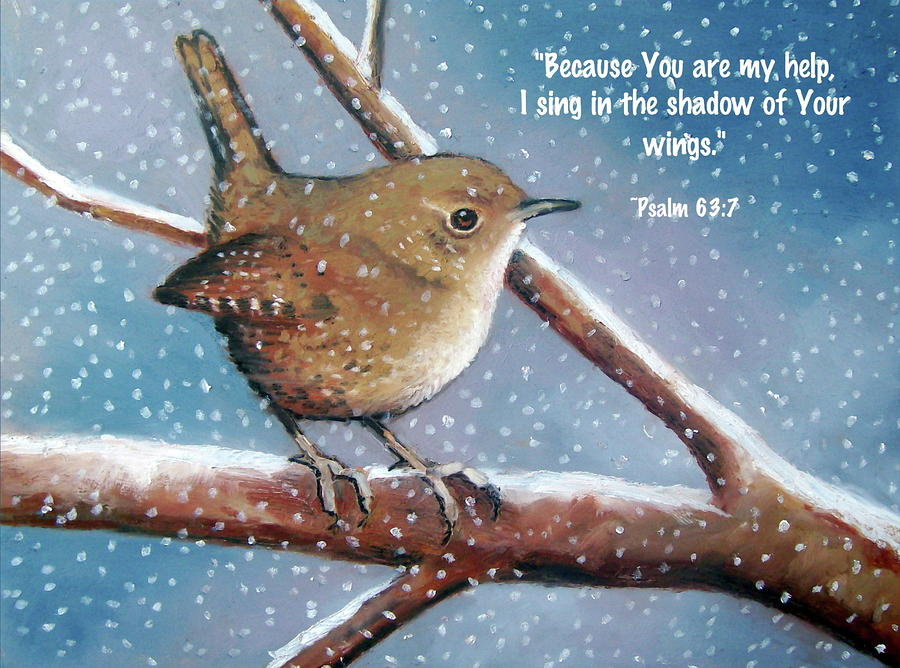 Wren In Snow With Bible Verse Pastel  - Wren In Snow With Bible Verse Fine Art Print