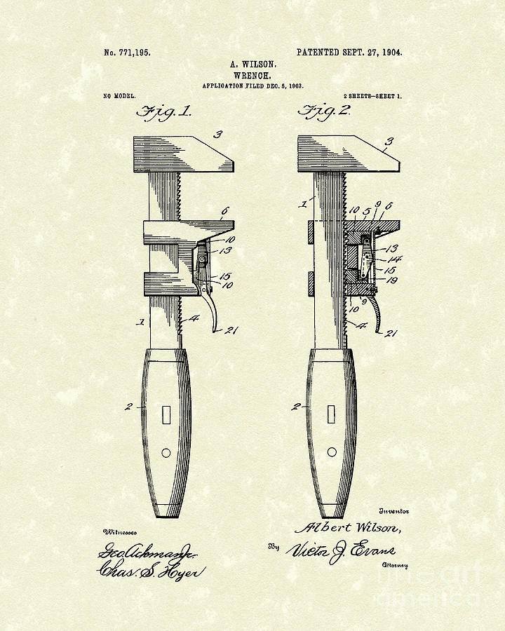 Wrench Wilson 1904 Patent Art Drawing