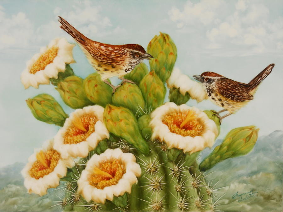 Wrens On Top Of Tucson Painting  - Wrens On Top Of Tucson Fine Art Print