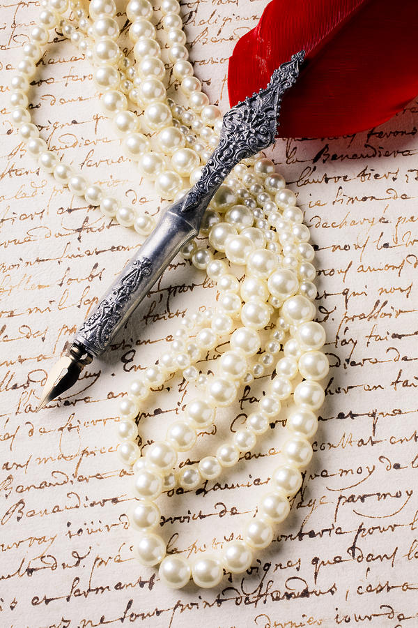 Writing Pen And Perals  Photograph  - Writing Pen And Perals  Fine Art Print