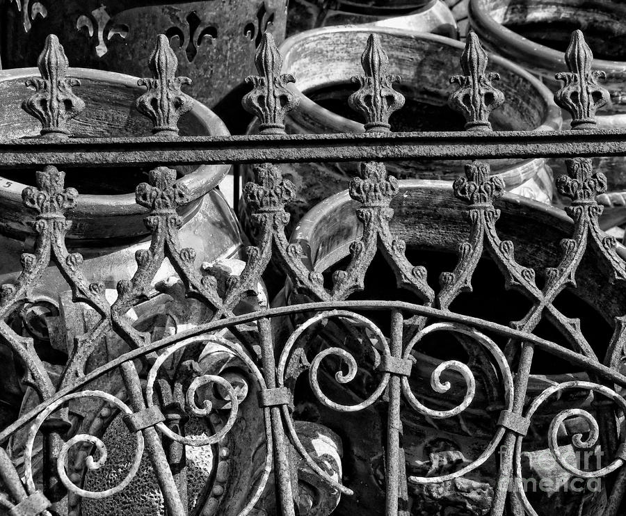 Wrought Iron Gate And Pots Black And White Photograph