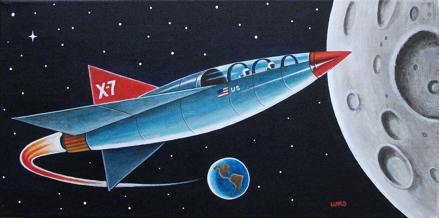 X7 Moon Rocket Painting by George Bryan Ward