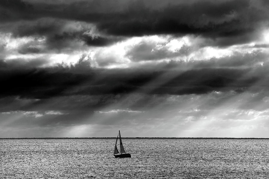 Yacht Sailing Just Off Brighton Beach Photograph  - Yacht Sailing Just Off Brighton Beach Fine Art Print