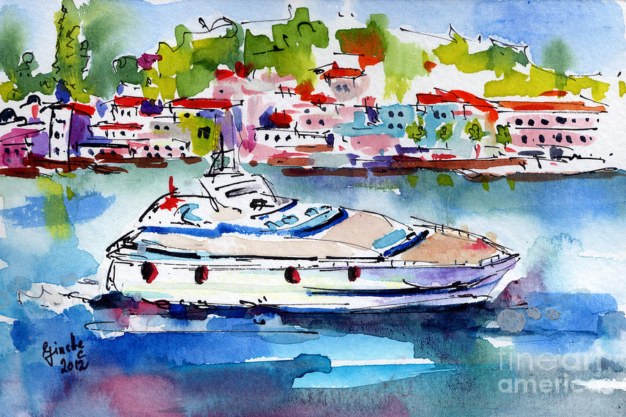 Yachting Off The Coast Of Amalfi Italy Watercolor Painting  - Yachting Off The Coast Of Amalfi Italy Watercolor Fine Art Print