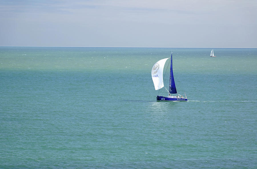 Yachts Sailing In Ventnor Bay Photograph