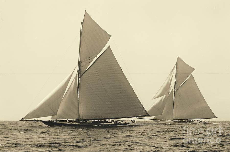 Yachts Valkyrie II And Vigilant Race For Americas Cup 1893 Photograph  - Yachts Valkyrie II And Vigilant Race For Americas Cup 1893 Fine Art Print