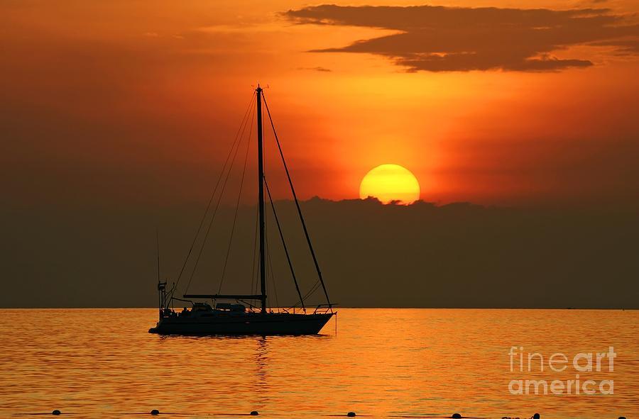 Yacth In Sunset At Kata Beach  Photograph