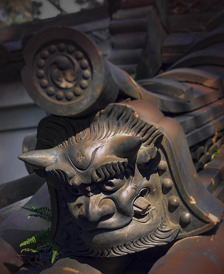 Yakushi-ji Temple Gate Gargoyle - Nara Japan Photograph