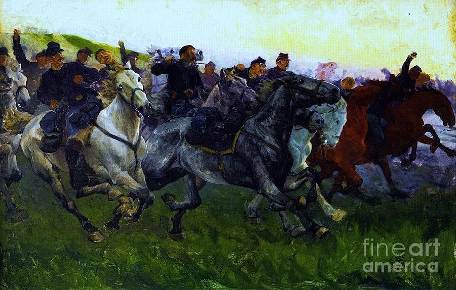 Yankee Civil War Yankee Cavalry Charge Painting