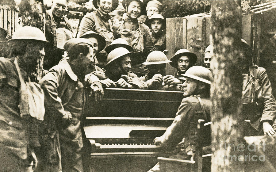 Yankee Soldiers Around A Piano Photograph