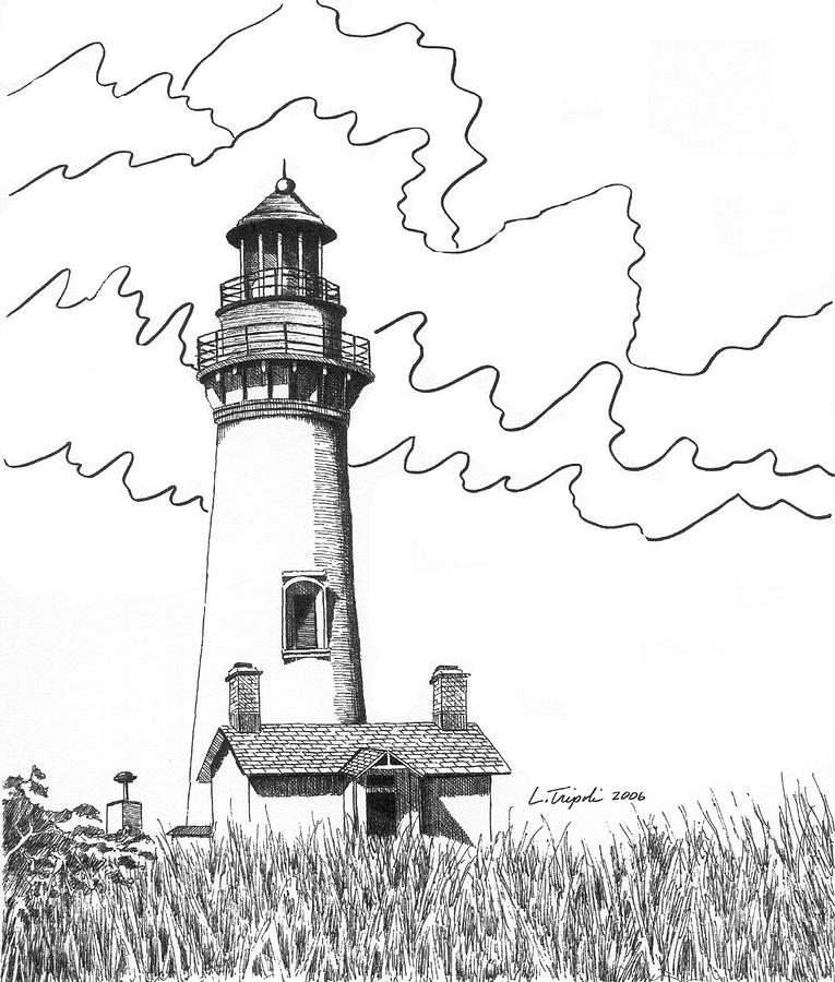 Lighthouse Line Art : Yaquina head lighthouse by lawrence tripoli