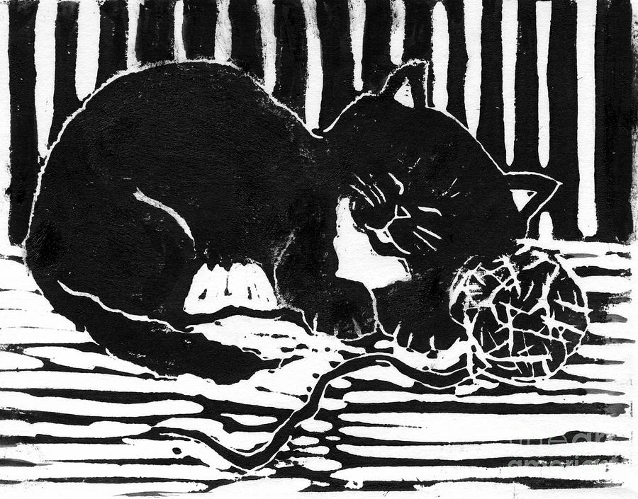 Yarn Cat  Block Print Mixed Media