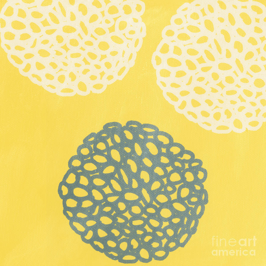 Yellow And Gray Garden Bloom Painting  - Yellow And Gray Garden Bloom Fine Art Print