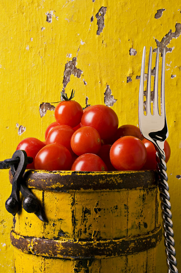 Yellow Bucket With Tomatoes Photograph  - Yellow Bucket With Tomatoes Fine Art Print