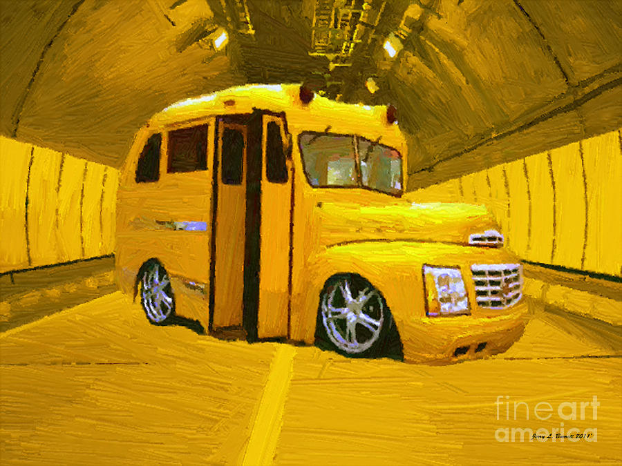 Yellow Bus Mixed Media  - Yellow Bus Fine Art Print