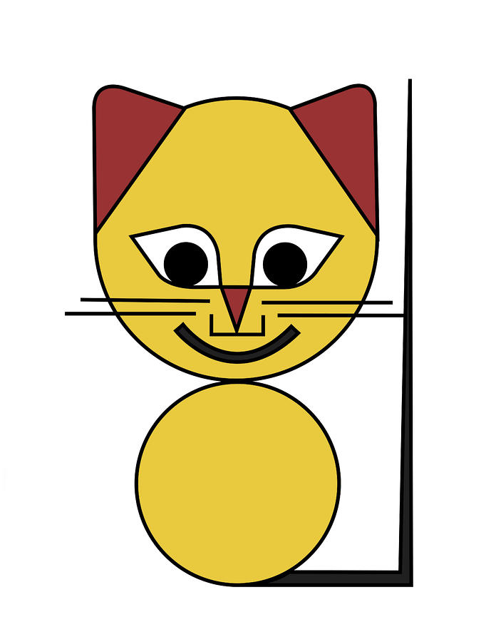 Yellow Cat Digital Art  - Yellow Cat Fine Art Print