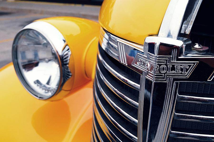 Transportation Photograph - Yellow Chevy by Steven Milner